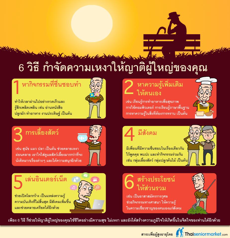 Infographic 6 วิธีกำจัดความเหงาให้ญาติผู้ใหญ่ของคุณ